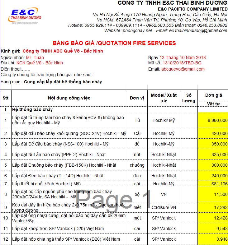 bảng báo giá lắp đặt hệ thống pccc
